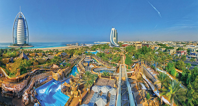 ОАЭ. Дубай. Madinat Jumeirah. Wild Wadi Waterpark - Panoramic View Day Shot