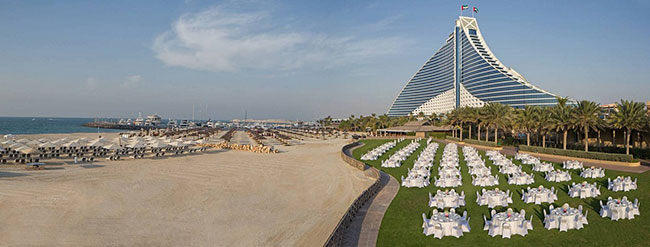 Блог Павла Аксенова. ОАЭ. Дубай. Jumeirah Beach Hotel - Events Arena - Dinner Set-up - Panoramic