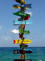 Мексика. Xcaret. Direction sign in Xcaret. Фото nicousnake - Depositphotos