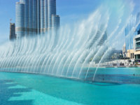 ОАЭ. Дубай. The Dancing fountains in Dubai. Фото Observer - Depositphotos
