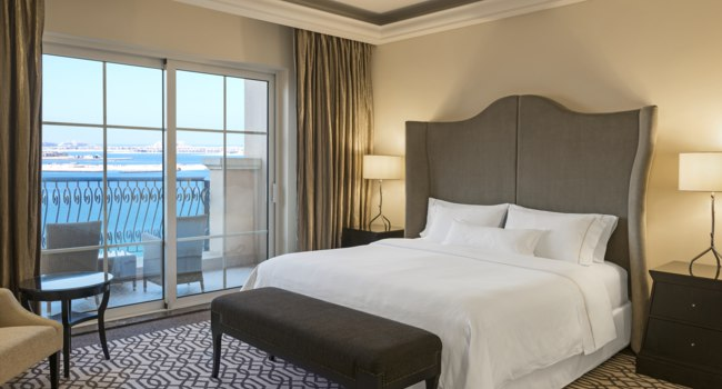 The Westin Dubai Mina Seyahi Beach Resort. Caption Westin Deluxe Suite Bedroom
