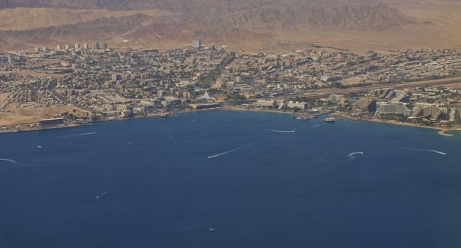 Клуб путешествий Павла Аксенова. Израиль. Эйлат. Aerial View of the city of Eilat with the Red Sea and harbour. Фото Luiten Kees - Depositphotos