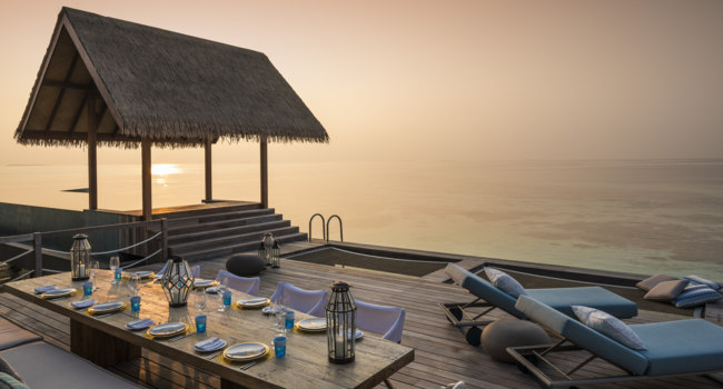 Private Island Maldives at Voavah. Two-bedroom Water Villa – Outdoor Dining & Pool