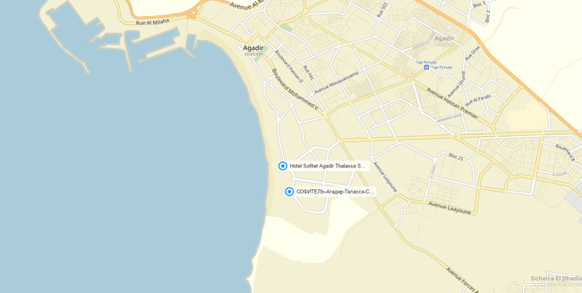 Клуб путешествий Павла Аксенова. Марокко. Агадир. Sofitel Agadir Thalassa Sea and Spa. Map