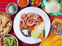 Fajitas mexican food with rice frijoles chili sauce. Фото TONO BALAGUER SL - Depositphotos
