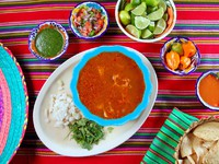 Pancita mondongo mexican soup varied chili sauces Mexico food. Фото TONO BALAGUER SL - Depositphotos