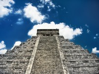 Kukulcan pyramid in Mexico, Kukulkan. (Snake, feathered quetzal) in Maya mythology is one of the main deities. Фото Ольга Дроздова - Depositphotos