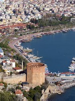 Port Alanya and red brick tower. Фото Валерий Шанин - Depositphotos_3581815