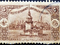 A stamp printed in Turkey shows old view of Istanbul, circa 1918. Фото neftali77 - Depositphotos_9852652