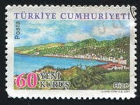 A stamp printed by Turkey, shows province Rize. Фото Сергей Нежинский - Depositphotos_9702977
