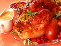 Turkey with stuffing, gravy and cranberry sauce. Фото David Smith - Depositphotos_5979533