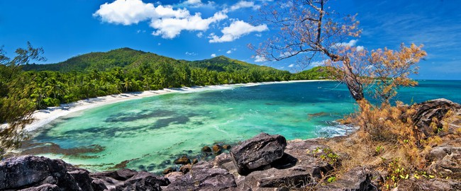 Сейшелы. Seychelles islands, panoramic view of praslin' beach. Maugli - Depositphotos