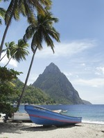 Сент-Люсия. Caribbean, St. Lucia, Soufriere, fishing village, beach, swaying palm trees. Фото Philip H. Coblentz - Depositphotos