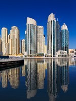 ОАЭ. Дубай Марина. A view of Jumeirah Beach Residence, at Dubai Marina, Dubai. Фото Sophie_James - Depositphotos