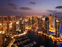 ОАЭ. Дубай Марина. A view of Dubai Marina, at Dusk, also showing JBH. Фото Sophie_James - Depositphotos