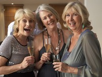 Friends Enjoying A Glass Of Champagne At A Dinner Party. Фото Monkey Business - Depositphotos