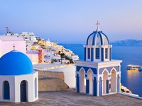 Греция. Санторини. Santorini sunset - Greece. Фото Violin - Depositphotos