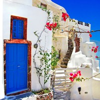 Греция. Санторини. Santorini - traditional architecture. Фото Maugli - Depositphotos