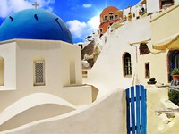 Греция. Санторини. Beautiful white-blue Santorini. Фото Maugli - Depositphotos