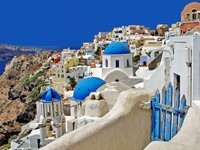 Греция. Санторини.Beautiful white-blue Santorini. Фото Maugli - Depositphotos