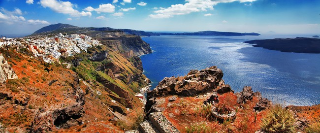 Греция. Санторини. Panorama of Santorini island, Greece. Фото Maugli - Depositphotos