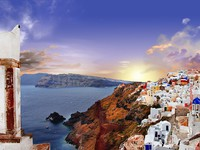 Греция. Санторини. Sunset over Santorini. Фото Maugli - Depositphotos