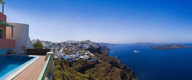 Греция. Санторини. Santorini panorama - Greece. Фото Nikolai Sorokin - Depositphotos