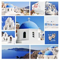 Греция. Санторини. Collage of Santorini (Greece) images. Фото Fine Shine - Depositphotos