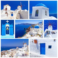 Греция. Санторини. Collage of Santorini island images. Фото Mustang_79 - Depositphotos