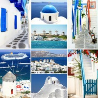 Греция. Санторини. Travel to Greece collage. Фото ezarubina - Depositphotos