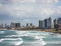 Израиль. Тель-Авив. View of Tel Aviv, Mediterranean sea, beach, hotels. Фото Maria Dubova - Depositphotos