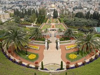 Израиль. Хайфа. Ornamental garden of the Baha'i Temple in Haifa, Israel. Фото Peterzahar Depositphotos