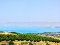 Израиль. Sea of Galilee (Lake Kinneret) and Golan Heights. Israel. Фото Roman Sigaev - Depositphotos