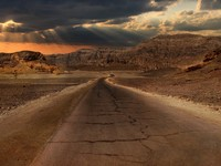 Израиль. Sunset over hills and mountains of Arava desert in Israel. Фото Rostislav Glinsky - Depositphotos
