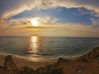 Израиль. Magnificent cloudy sunset on Mediterranean sea. Фото Avraham Kushnirov - Depositphotos