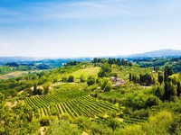 Traditional Toscana Italy landscape. Hills, fields and sky. Фото chaoss - Depositphotos_1328863
