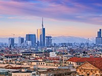 Италия. Милан. View of Milan business district from Duomo di Milano. Фото muha555 - Depositphotos
