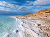 Иордания. Мертвое море. Jordan. Dead Sea. View of Dead Sea coastline at sunset time Nickolayv - Depositphotos