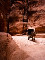 Иордания. Jordan. Unrecognizable bedouin drives carriage in canyon in Petra, Jordan. vkovalcik - Depositphotos