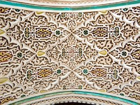 Марокко. Марракеш. Дворец Бахия. Bahia Palace Marrakesh stucco. Фото Roberto Marinello - Depositphotos