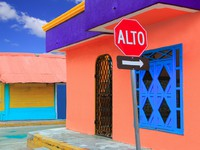 Мексика. Colorful Caribbean houses tropical Isla Mujeres. Фото lunamarina - Depositphotos