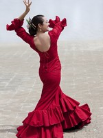 Traditional Woman Spanish Flamenco Dancer In Red Dress. Фото Darren Baker - Depositphotos