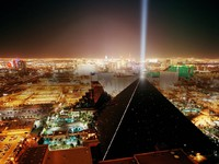 Las Vegas, Nevada. A view of the Luxor Pyramid at night