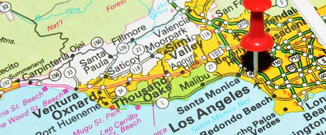 Los Angeles, California on the United States map. Фото  Lucian Milasan - Depositphotos