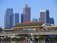 Chinatown light rail metro station in downtown Los Angeles California. Фоото trekandshoot - Depositphotos