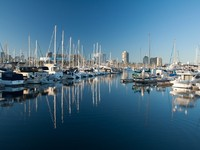 LONG BEACH The Shoreline (Downtown) Marina opened in 1982 and has 1764 slips for recreational boaters. Фото Christian De Araujo - Depositphotos