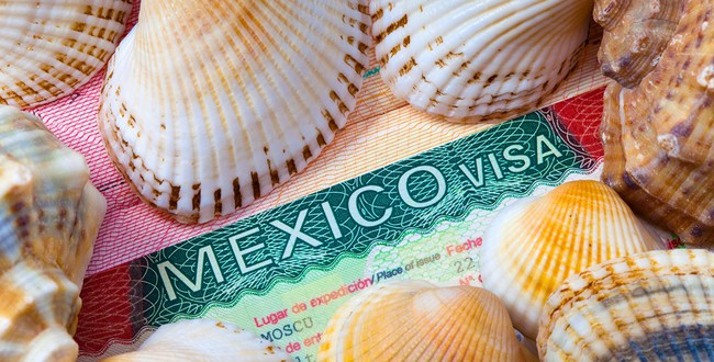 The visa of Mexico and sea cockleshells - the rest concept. Фото Konstantin Kulikov - Depositphotos