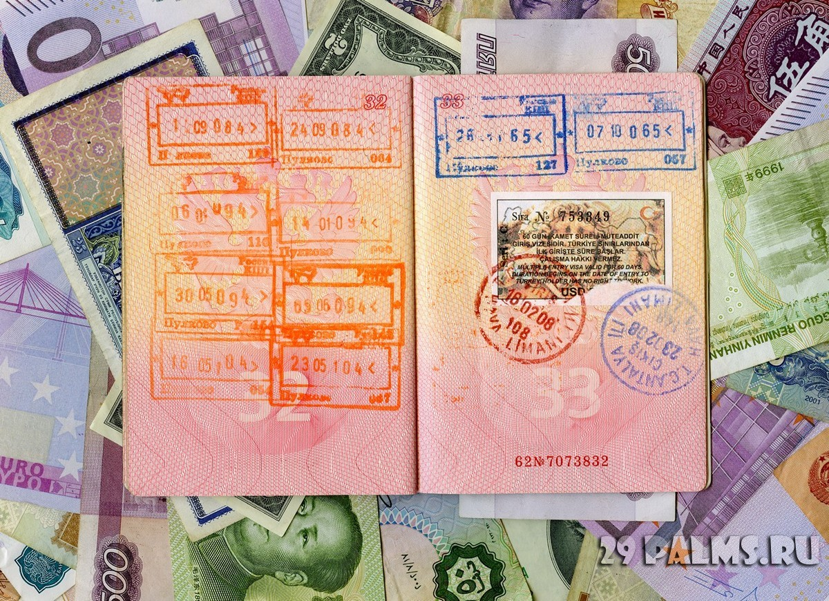 Passport with turkish visa and stamps. Фото Olga Popova - Depositphotos_9221697