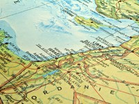 Иордания. Middle East map, Israel Lebanon Egypt conflict area. Фото Fernando Barozza - Depositphotos